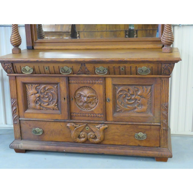 Renaissance Early 20th Century Renaissance Style Sideboard With Superstructure For Sale - Image 3 of 9