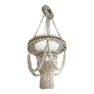 Vintage Boho Chic Hanging Seashell Chandelier For Sale
