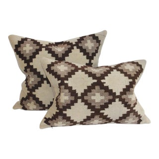 19th Century Navajo Indian Weaving Pillows- a Pair For Sale