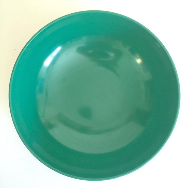 Mid 20th Century Vintage Mid Century Modern Melmac Melamine Extra Large Teal Green Round Serving Bowl For Sale - Image 5 of 13