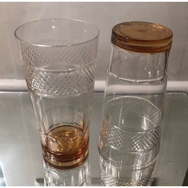 Set of 6 Art Deco Antique Hawkes Amber Cut Crystal Highballs For Sale - Image 4 of 6