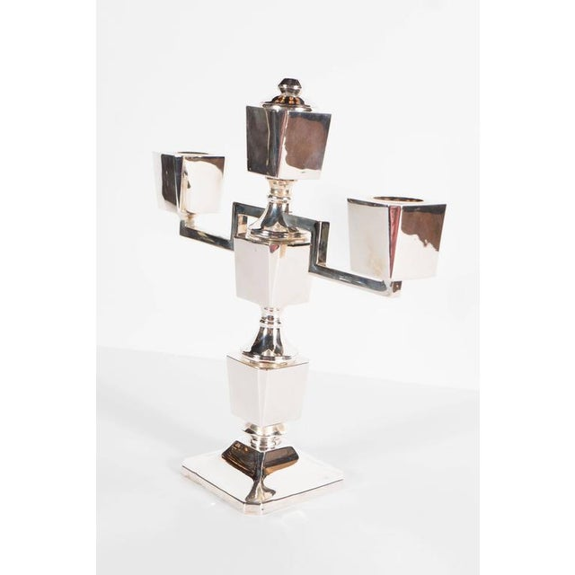 Gorgeous Pair of Art Deco Customizable / Adjustable Sterling Silver Candlesticks For Sale - Image 4 of 11