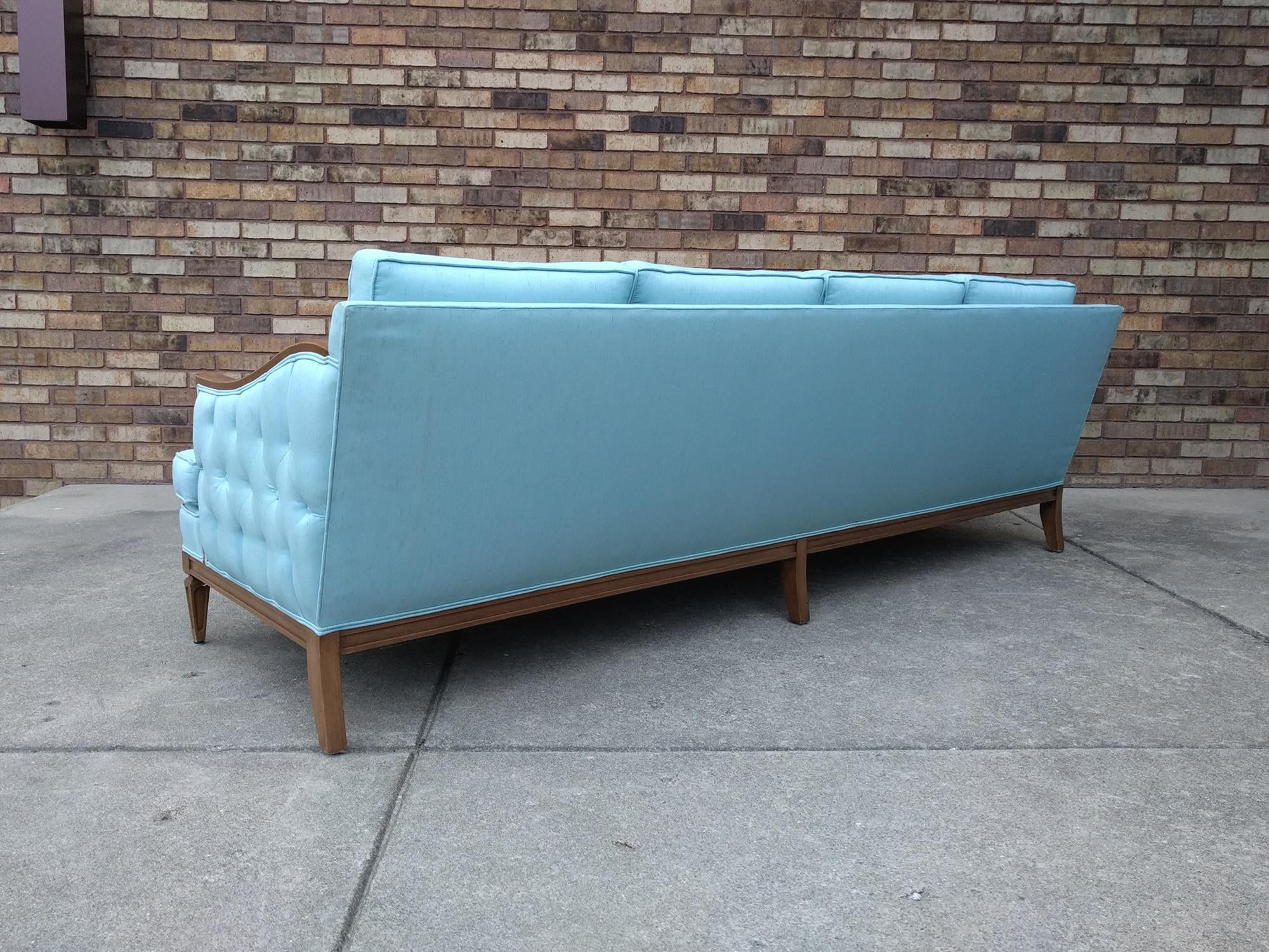 1960s Mid Century ModernHollywood Regency Tiffany Blue Sofa   Image 8 Of 13