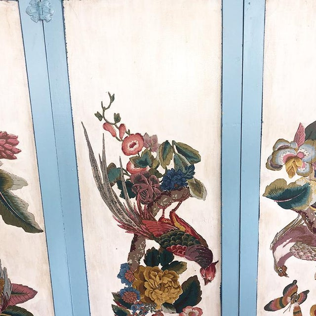 Vintage 4 Panel Chinoiserie Bird and Flower Motif Blue Divider Screen For Sale - Image 6 of 9