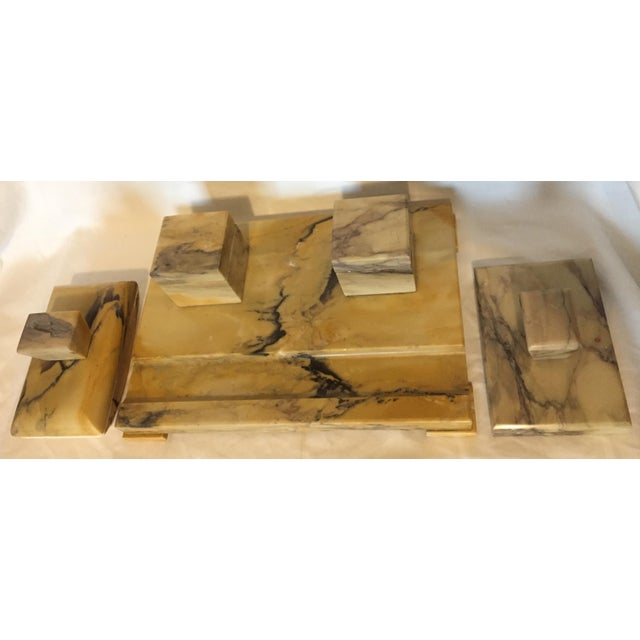 Marble Italian Art Deco Siena Marble Double Inkwell Desk Set - 3 Pieces For Sale - Image 7 of 7