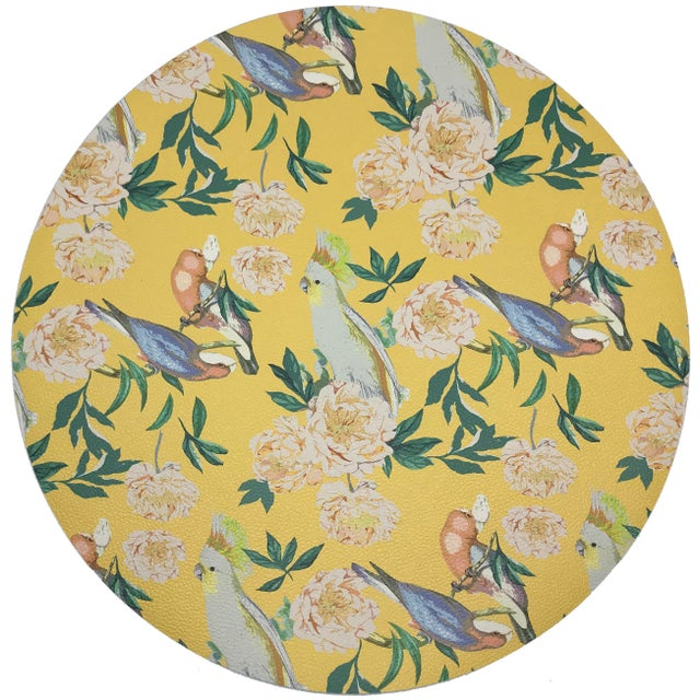 "Contemporary Nicolette Mayer Peony Inspira Goldenrod 16"" Round Pebble Placemats, Set of 4 For Sale - Image 3 of 3"