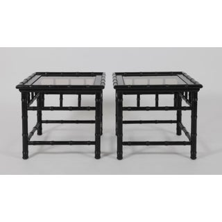 20th Century Boho Chic Black Painted Faux Bamboo Side Tables - a Pair Preview
