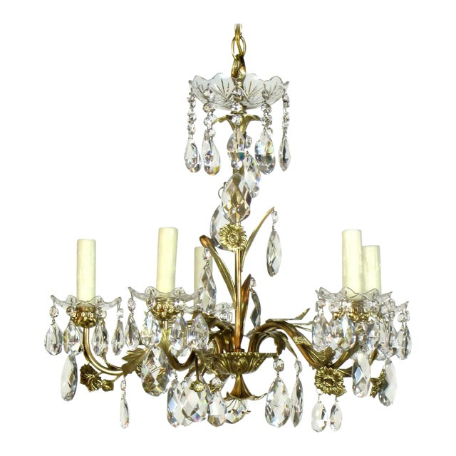 Swedish Brass and Crystal Chandelier - Image 1 of 4