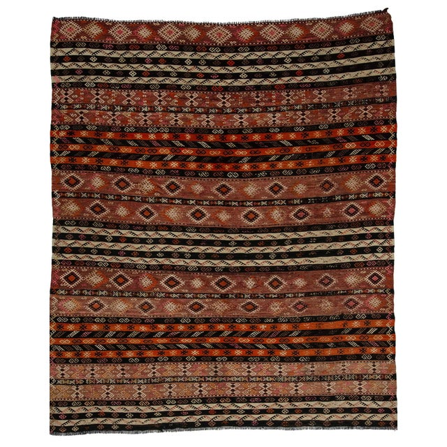 Textile Embroidered Vintage Kilim Rug- 7′8″ × 9′ For Sale - Image 7 of 7
