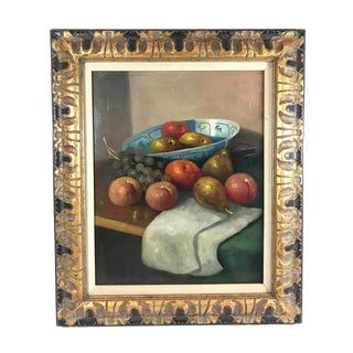 1960s Vintage Reinier Still Life with Pears Peaches and Grapes Framed Oil on Canvas Painting For Sale