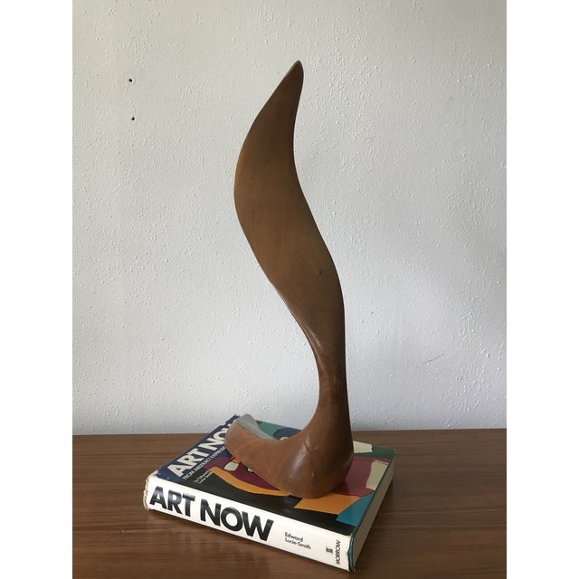Abstract Mid Century Signed Wood Flame Sculpture For Sale - Image 3 of 8