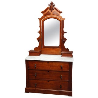 Antique Victorian Carved Walnut Marble-Top Mirrored Dresser, Circa 1890 For Sale