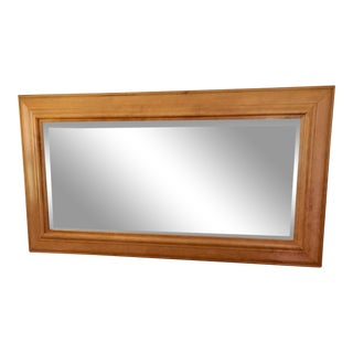Contemporary Wood Frame Beveled Mirror For Sale