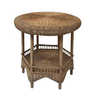 Vintage Wicker Tabouret Style Table 2 Tier End Table Natural Rattan
