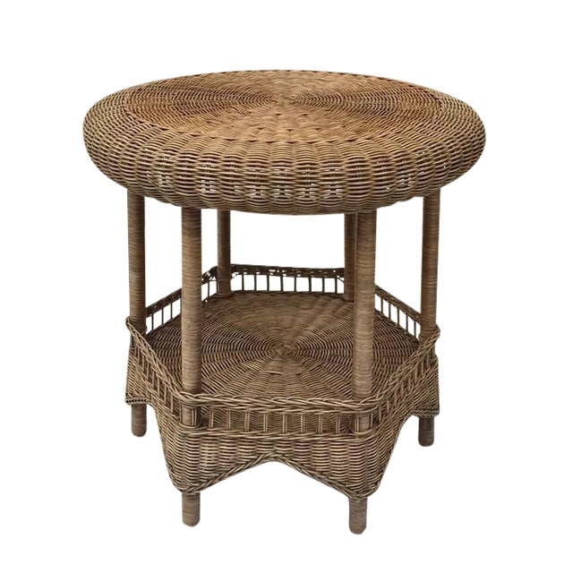 Vintage Wicker Tabouret Style Table 2 Tier End Natural Rattan For