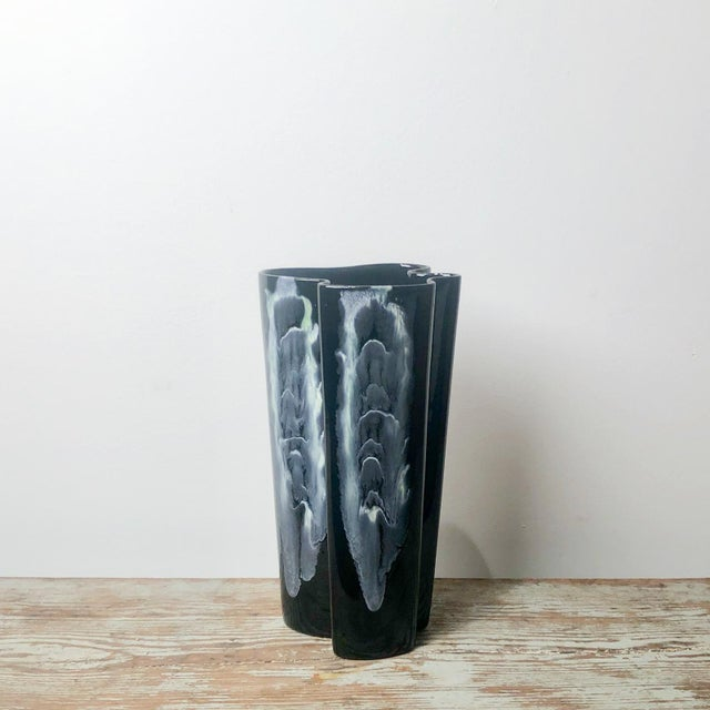 Late 20th Century Black and White Murano Glass Vase, Italy For Sale - Image 5 of 5