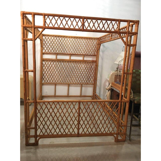 Rattan Bamboo Chinese Chippendale Queen Canopy Bed For Sale - Image 9 of 12