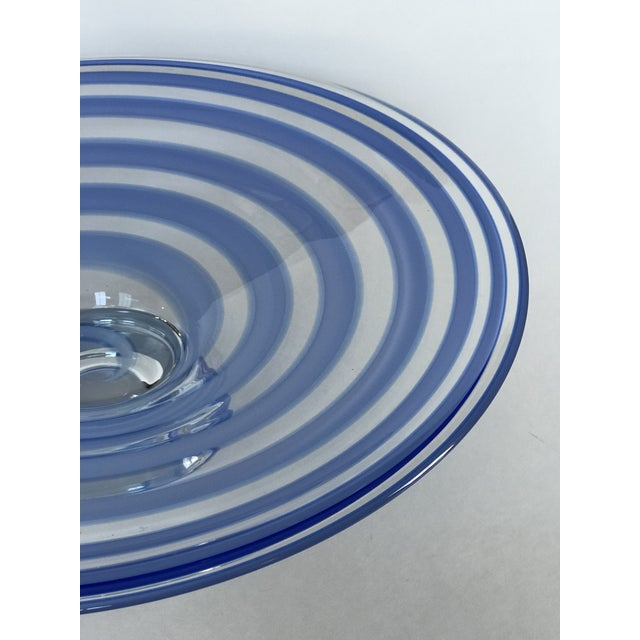 2000 - 2009 Large Blue Swirl Art Glass Footed Centerpiece Bowl For Sale - Image 5 of 9