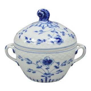 Bing and Grondahl B&G Kjøbenhavn Butterfly Lace Blue Sugar Bowl W Lid For Sale