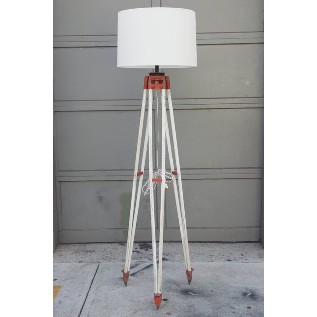 1940s Tall Industrial Surveyor Tripod Floor Lamp For Sale In Los Angeles - Image 6 of 6