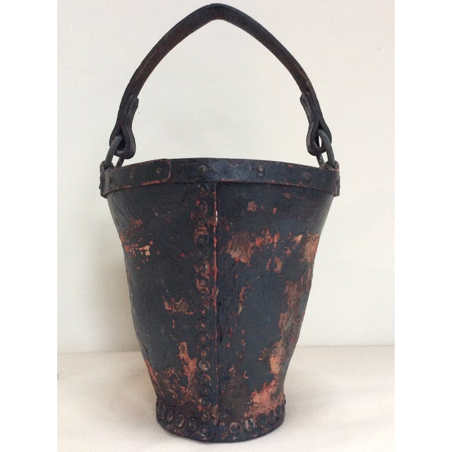 Antique Leather Coat of Arms Fire Bucket - Image 5 of 9