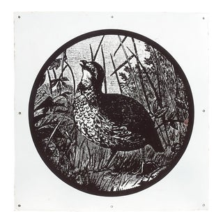 Vintage Metal Porcelain Quail Sign For Sale