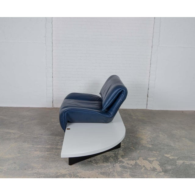 Blue Mid-Century Modern Design Deep Navy Blue Leather Three-seat 'Veranda' Sofa by Vico Magistretti for Cassina, 1970s For Sale - Image 8 of 13