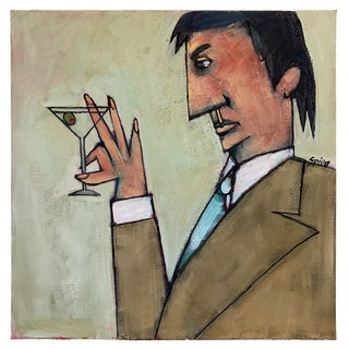 Martini Time Oil Painting by Jack Spiegelman For Sale