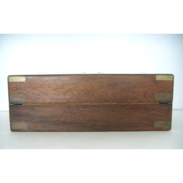 Antique English Walnut Slope Top Deed/ Writing Box For Sale - Image 4 of 10