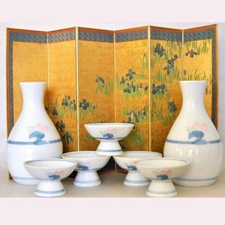 Arita Sakazuki Porcelain Sake Cups and Bottles - Set of 7 Preview