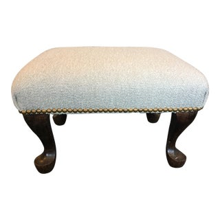 Vintage English Upholstered Queen Anne Leg Footstool For Sale