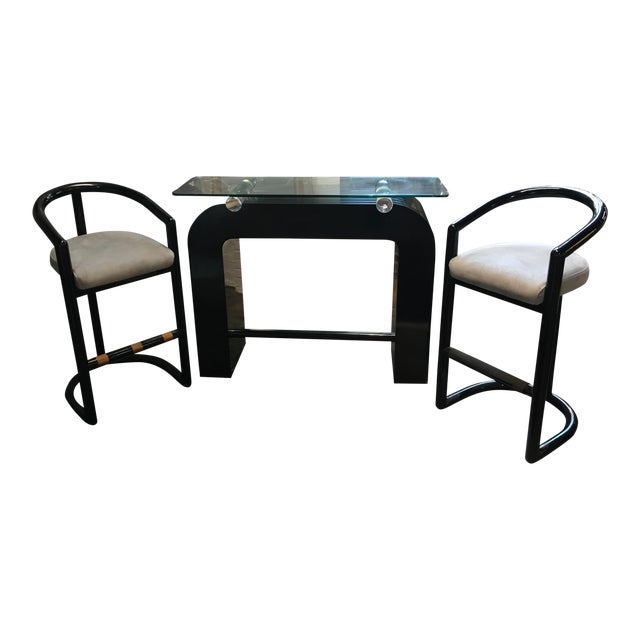 Art Deco Waterfall Sculptural Dry Bar & Stools For Sale