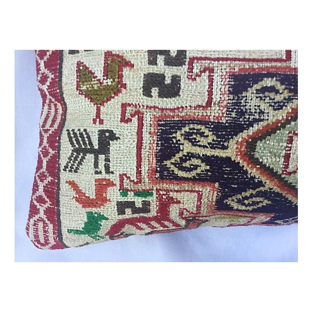 Silk Sumak Rug Pillow W/ Animal Motif - Image 3 of 6