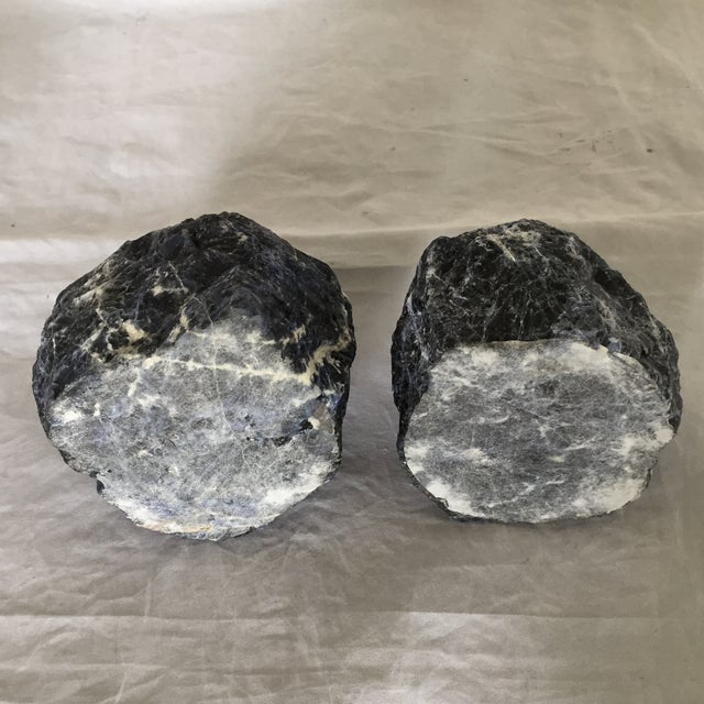 Late 20th Century Sodalite Blue Stone Candleholders- A Pair For Sale - Image 5 of 6