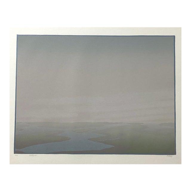 "1986 ""Wetlands"" Minimalist Linocut Print by Teri Malo For Sale"