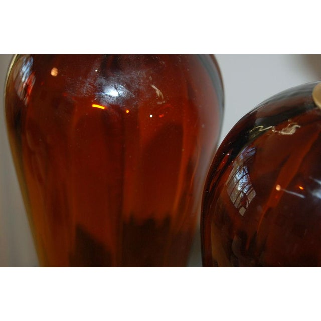 Gold Vintage Italian Glass Teardrop Table Lamps For Sale - Image 8 of 9