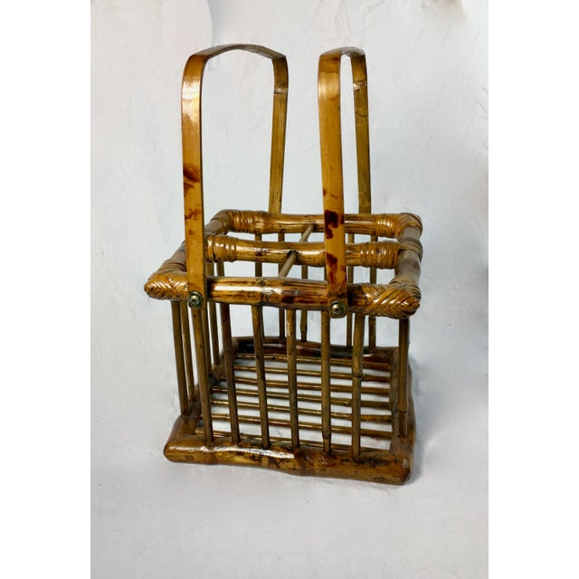 20th Century Chinoiserie Bamboo Bottle Basket in Burned & Lacquered Tortoise Finish For Sale - Image 4 of 6