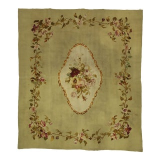 Late 19th Century Antique French Aubusson Rug - 05'06 X 06'03 For Sale