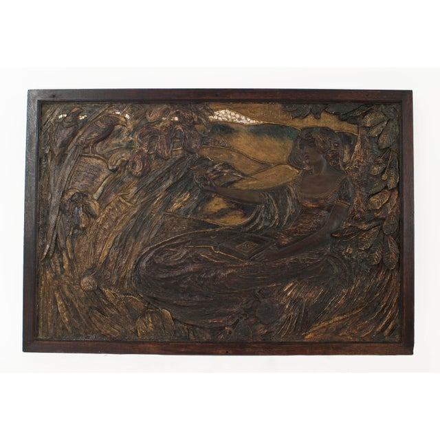 French Art Nouveau Dark Polychromed Plaster Horizontal Wall Plaque For Sale - Image 4 of 4