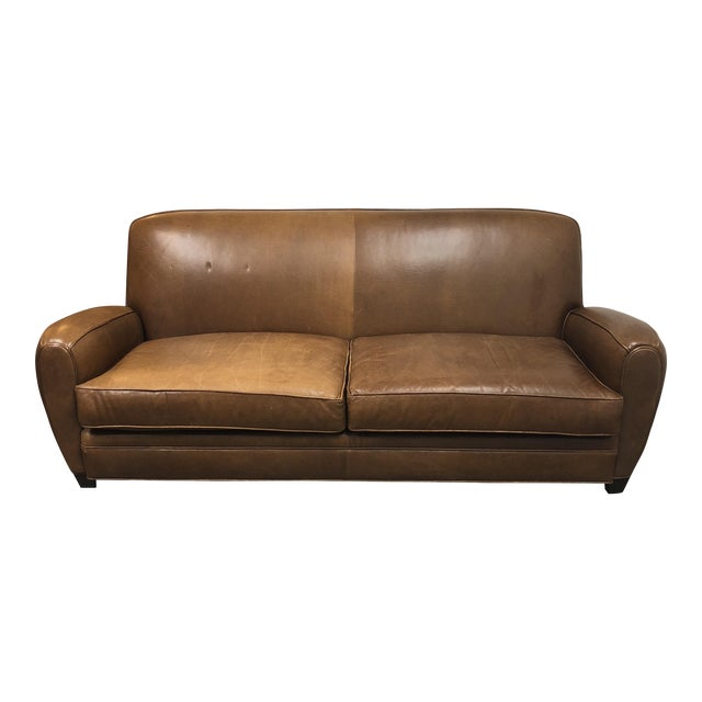 Richter Rustic Brown Leather Sofa | Chairish