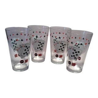 Vintage Vegas Card Style High Ball Glasses - Set of 4