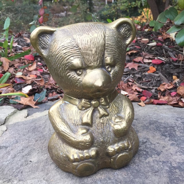 Vintage Large Brass Teddy Bear For Sale - Image 9 of 9