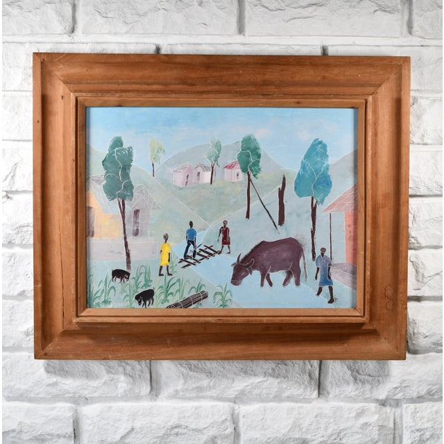 Mid 20th Century Haitian Rural Landscape Painting by Nicolas Dreux, Framed For Sale - Image 9 of 9