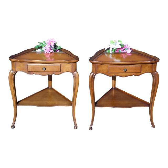 Vintage Pair French style Triangle End Tables Nightstands with Planters French Louis XV Style 1 Drawer with Brass Hardware...