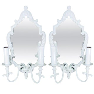 Pair of French Painted Bronze Mirrored Sconces For Sale