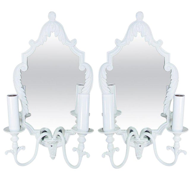 Pair of French Painted Bronze Mirrored Sconces - Image 1 of 3