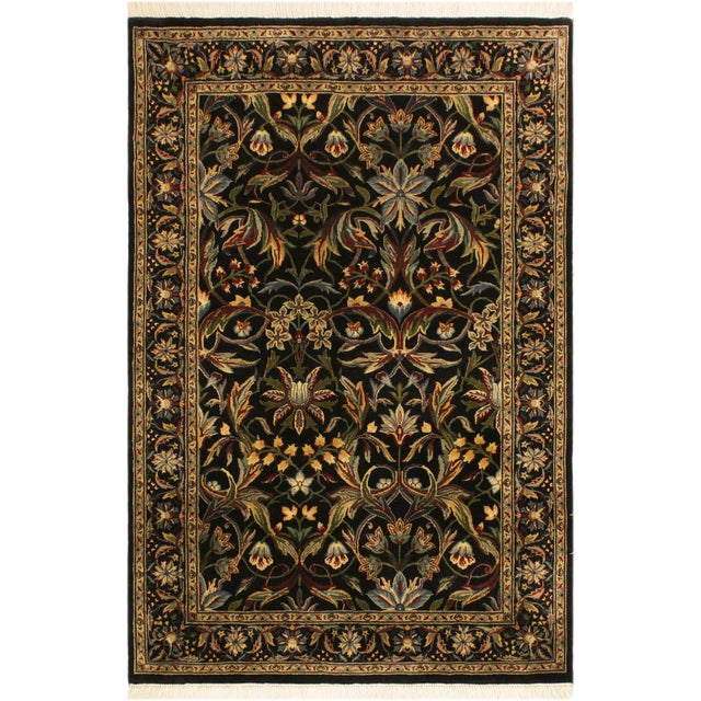 Blue Abusson Pak-Persian Mina Black/Blue Wool Rug - 4'2 X 6'2 For Sale - Image 8 of 8