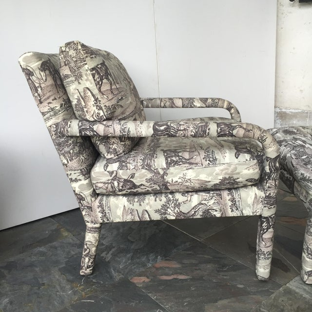 Vintage Toile Upholstered Chairs & Ottomans - A Pair - Image 6 of 6