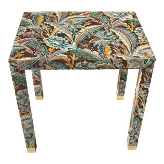 1960s Hollywood Regency Upholstered Parsons End Table For Sale