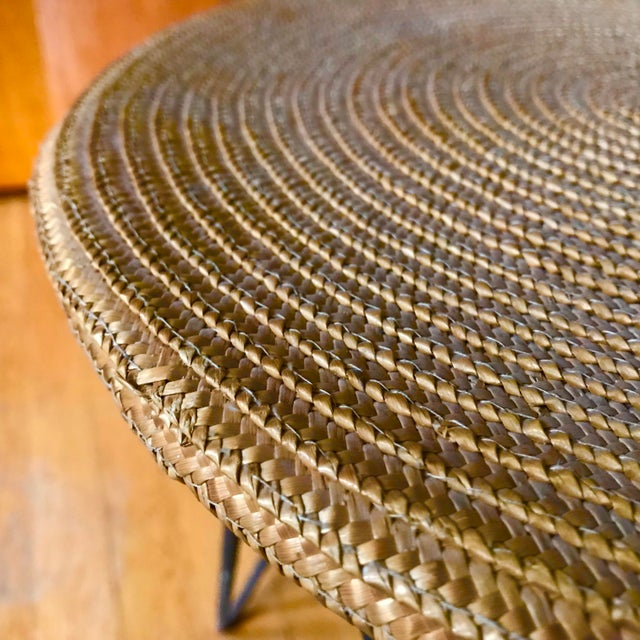 1950s Mid Century Woven Accent Table For Sale - Image 5 of 7